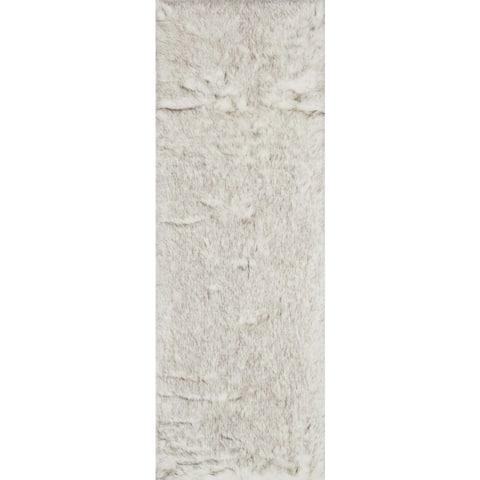 "Silver Orchid Martin Faux Fur Sheepskin Plush Shag Rug - 2'6"" x 7'6"" Runner"