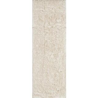 Faux Fur Ivory/ Beige Shag Rug - 2'6 x 7'6