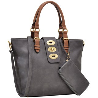 Dasein Fashion Work Tote with Adjustable Twist Lock and Matching Wristlet (2 options available)