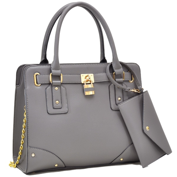 Dasein Belted Satchel with Padlock Deco and Chain Shoulder Strap and with Matching Wristlet. Opens flyout.