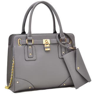 Dasein Belted Satchel with Padlock Deco and Chain Shoulder Strap and with Matching Wristlet