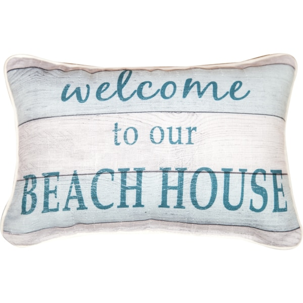Manual Woodworkers 'Welcome to Our Beach House' White/Blue Decorative Throw Pillow