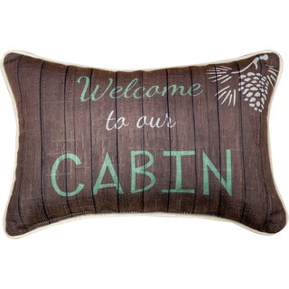 Manual Woodworkers 'Welcome to Our Cabin' Decorative Throw Pillow