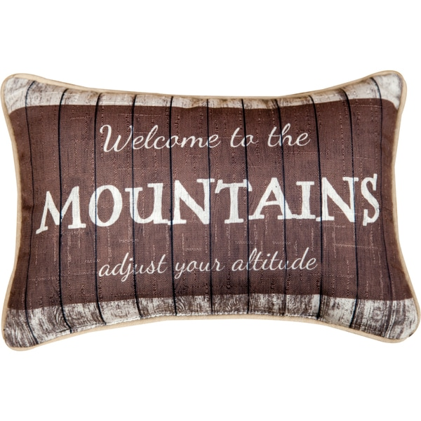 Manual Woodworkers 'Welcome To The Mountains' Decorative Throw Pillow