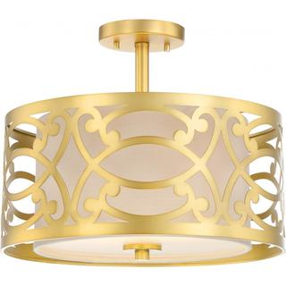 Filigree - 2 Light Semi Flush Mount - Natural Brass Finish - Beige Linen Fabric Shade
