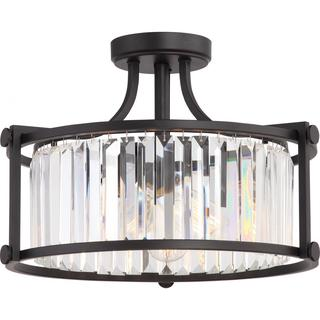 Krys - 3 Light Crystal Semi Flush Fixture with 60w Vintage Lamps Included; Aged Bronze Finish