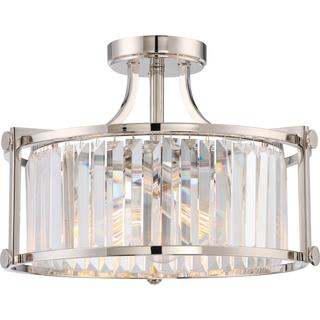 Krys - 3 Light Crystal Semi Flush Fixture with 60w Vintage Lamps Included; Polished Nickel Finish