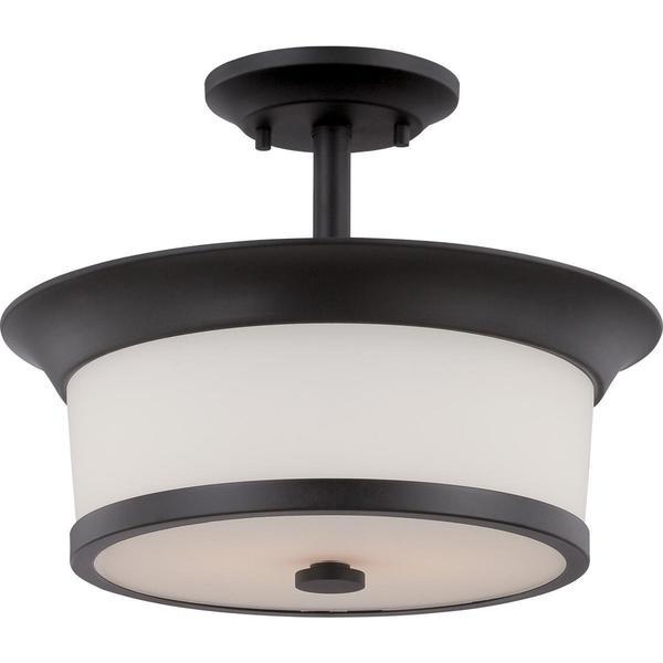 Mobili - 2 Light Semi Flush with Satin White Glass
