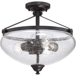 Laurel - 3 Light Semi Flush with Clear Seeded Glass