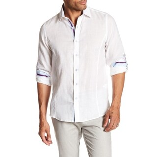 Slim Fit Solid Roll Up Shirt With Lined Contrast