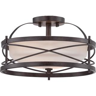 Ginger - 2 Light Semi Flush with Etched Opal Glass