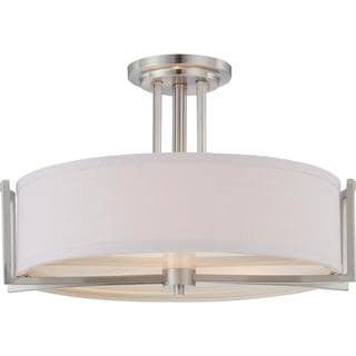 Gemini - 3 Light Semi Flush Fixture with Slate Gray Fabric Shade