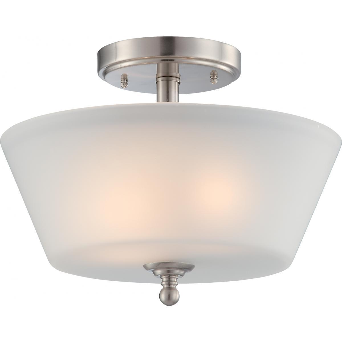 2 Light Semi Flush Fixture With Frosted