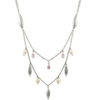 Luxiro Freshwater Pearl with Cubic Zirconia Two Row Necklace