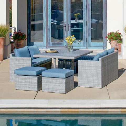 Corvus Martinka 7-piece Aluminum Grey Wicker Patio Dining Set