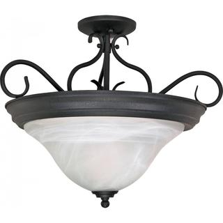 "Castillo - 3 Light - 19"" - Semi-Flush - with Alabaster Swirl Glass"