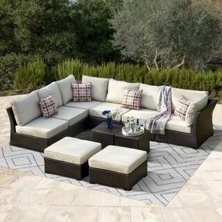 Corvus Oreanne Brown Wicker 10 Piece Patio Furniture Set