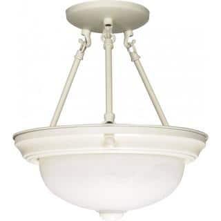 "2 Light - 13"" - Semi-Flush - Alabaster Glass https://ak1.ostkcdn.com/images/products/17138895/P23404770.jpg?impolicy=medium"