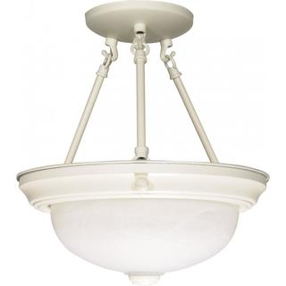 "2 Light - 13"" - Semi-Flush - Alabaster Glass"
