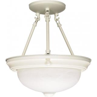 "2 Light - 11"" - Semi-Flush - Alabaster Glass"