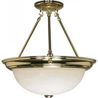 "3 Light - 15"" - Semi-Flush - Alabaster Glass"