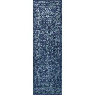Lucca Floral Navy/ Aqua Runner Rug (2'7 x 10')