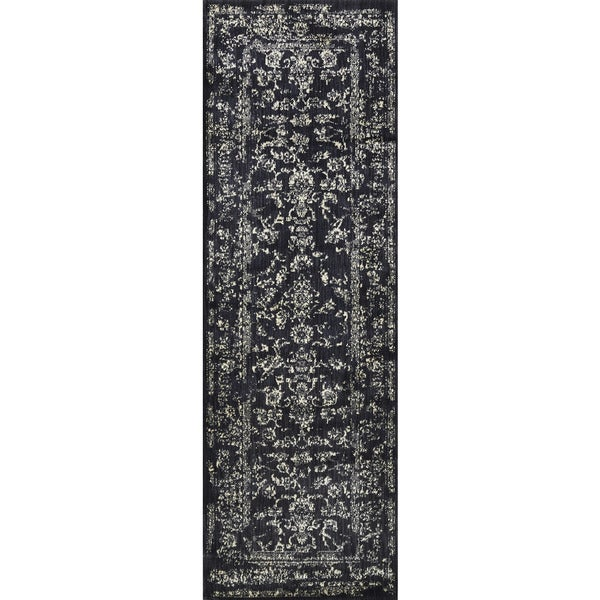 Lucca Floral Black/ Ivory Runner Rug - 2'7 x 10'