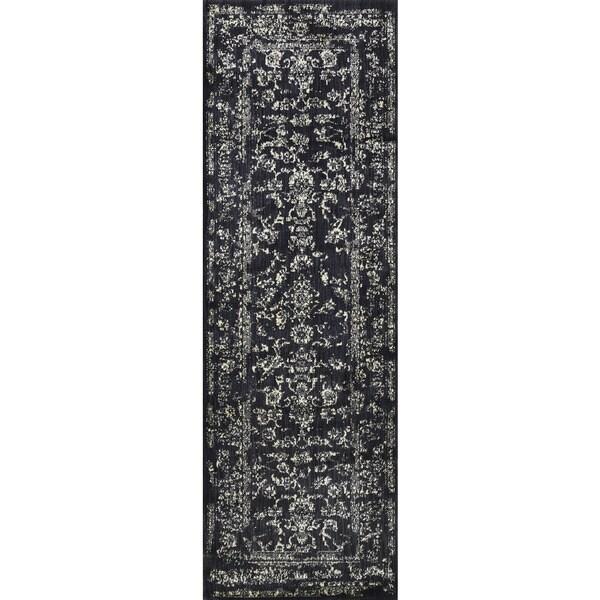 Lucca Floral Black/ Ivory Runner Rug - 2'7 x 8'