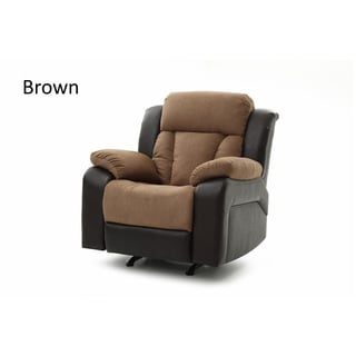LYKE Home Ella Two Toned Contemporary Faux Leather Recliner