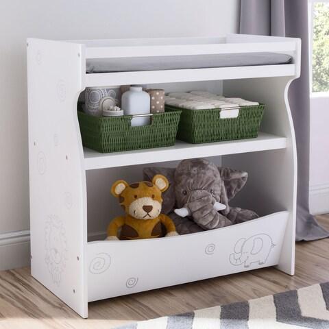 Delta Children ModBaby Changing Storage Unit, Bianca White with Animal Motif