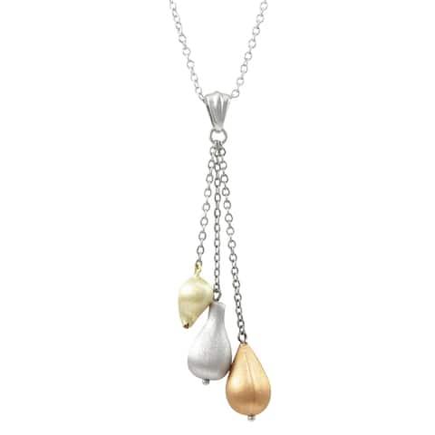 Luxiro Tri-color Matte Finish Tassle Necklace