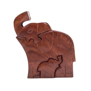 Handmade Mama Elephant Puzzle Box (India)