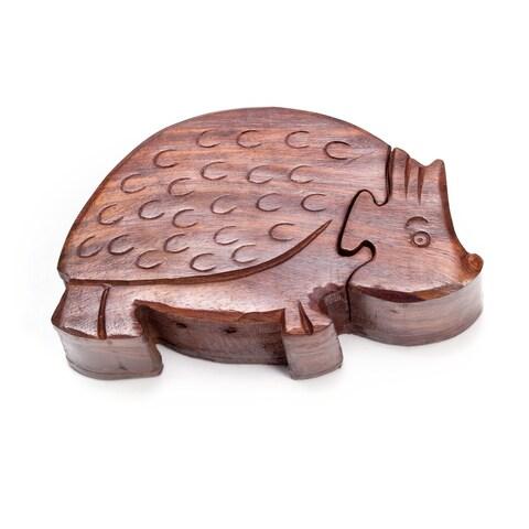 Handmade Hedgehog Puzzle Box (India)