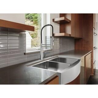 Ancona Prestige Stainless Steel 33-inch Double-bowl Apron Undermount Kitchen Sink