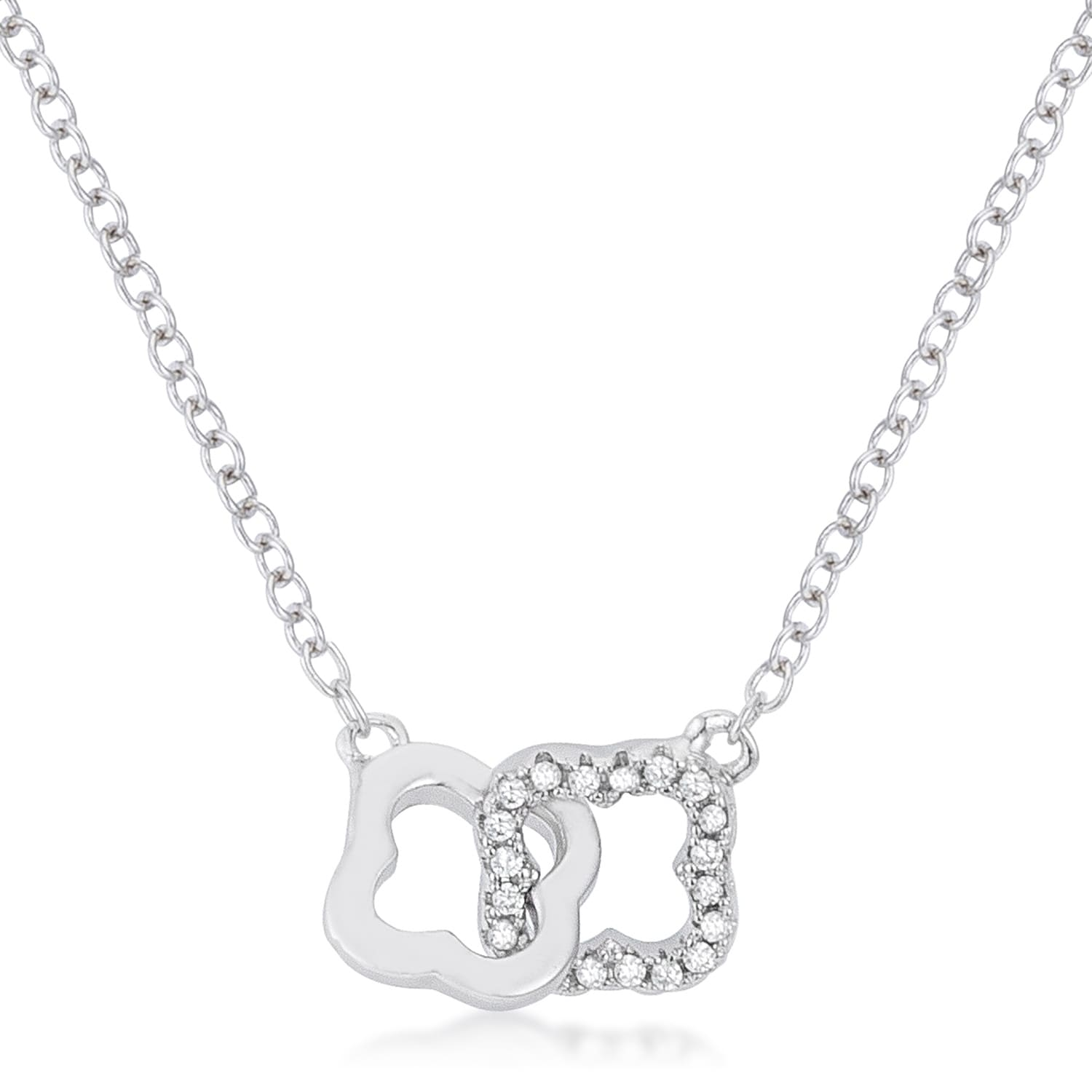 .21 Ct Rhodium Necklace with Interlocking Floral Links and Cubic Zirconia