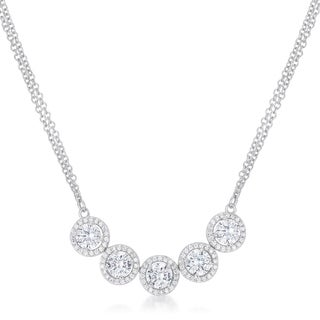 5 Ct Dazzling Rhodium Necklace with CZ - CLEAR