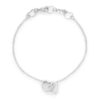 .12 Ct Rhodium Interlocked Hearts Bracelet with CZ Accents - CLEAR
