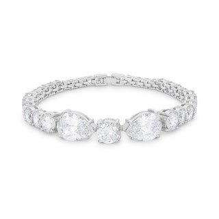 Elegant Pear and Round Cubic Zirconia Tennis Bracelet - CLEAR