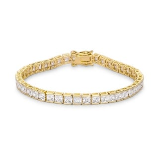 Princess Cut CZ Gold Tone Tennis Bracelet - CLEAR