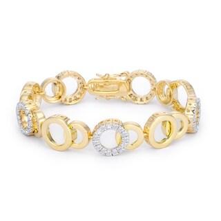 Circle Bijoux 7 Inch Two Tone Bracelet - CLEAR