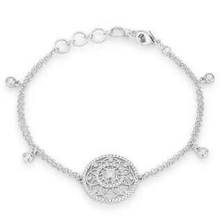 .5 Ct Rhodium Bracelet with Interlocking Circles and CZ - CLEAR