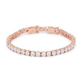17.6 Ct Rosegold Tennis Bracelet with Shimmering Round CZ - CLEAR