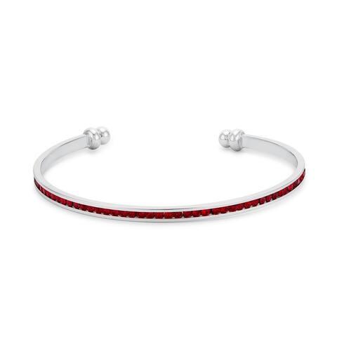 Channel-Set Garnet Cubic Zirconia Cuff - Red