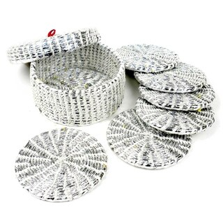 Upcycled Boxed Set of 6 Silver Wrapper Coasters (Nepal)