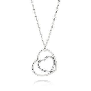 PANDORA Forever in my Heart Clear CZ Pendant Necklace - 390364CZ-90