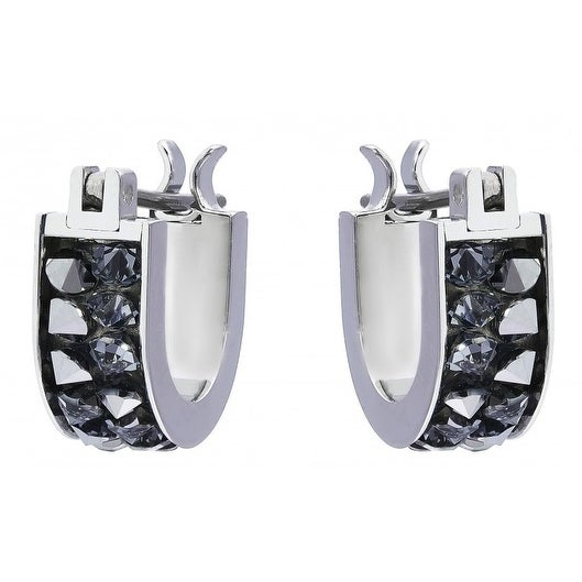 b2511edc90696 Swarovski Crystaldust Hoop Pierced Earrings - Small - Gray - 5274268