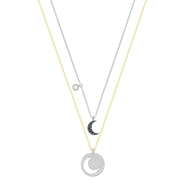 5b0c83141f14 Shop Swarovski Crystal Wishes Moon Pendant Set - Black - 5272242 - Free  Shipping Today - Overstock - 17140649