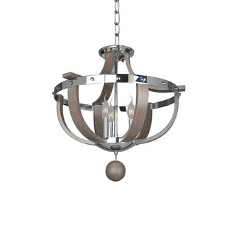 Kalco Sharlow Polished-chrome-finished Metal and Ash Wood 60-watt 3-light Semi-flush Light Fixture