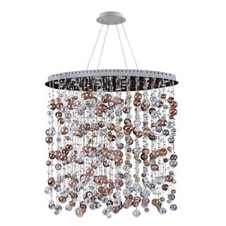 Allegri Rubens Metal/Crystal 36-inch x 59-inch Oval/Round Convertible Pendant/Flush Mount Light Fixture