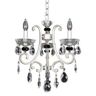 Allegri Bedetti Silvertone Metal 3-light Chandelier with Hanging Crystal Accents
